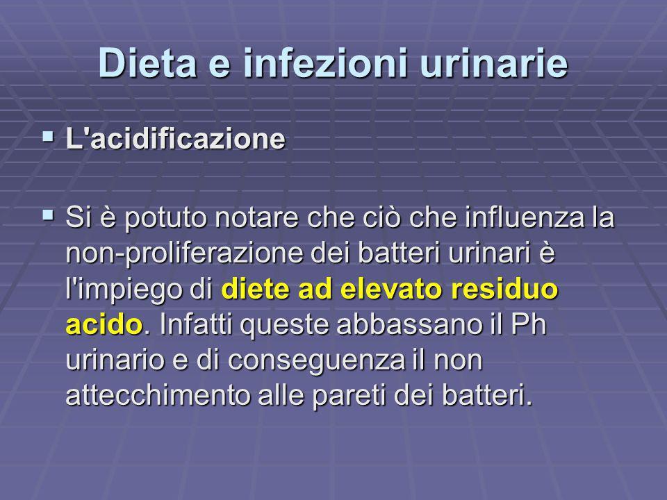 Dieta e infezioni urinarie L'acidificazione L'acidificazione Si è potuto notare che ciò che influenza la non-proliferazione dei batteri urinari è l'im