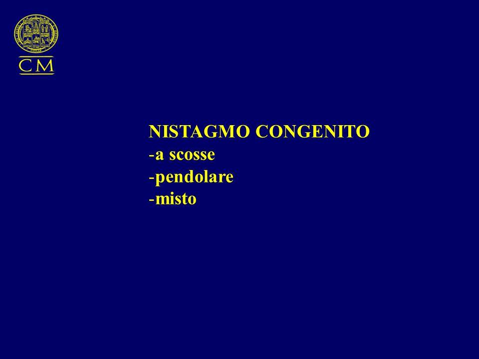 NISTAGMO CONGENITO -a scosse -pendolare -misto