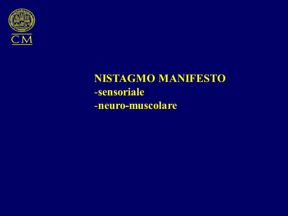 NISTAGMO MANIFESTO -sensoriale -neuro-muscolare