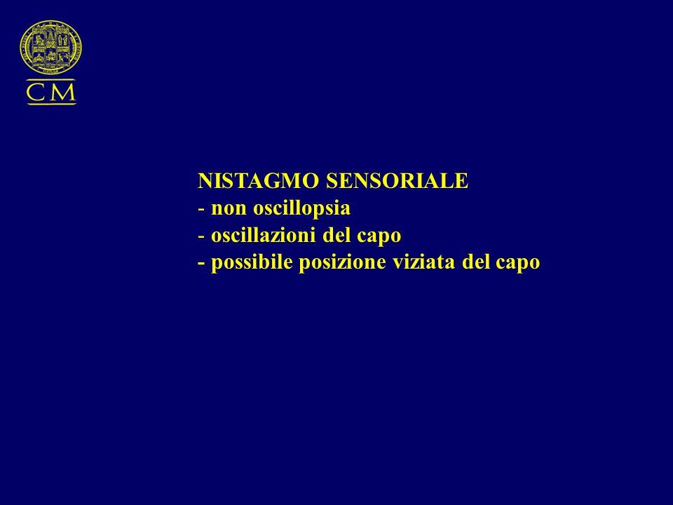 NISTAGMO SENSORIALE - non oscillopsia - oscillazioni del capo - possibile posizione viziata del capo