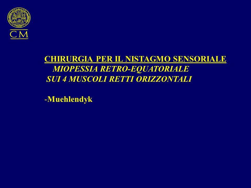 CHIRURGIA PER IL NISTAGMO SENSORIALE MIOPESSIA RETRO-EQUATORIALE SUI 4 MUSCOLI RETTI ORIZZONTALI -Muehlendyk