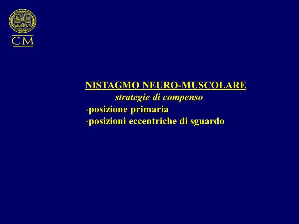 NISTAGMO NEURO-MUSCOLARE strategie di compenso -posizione primaria -posizioni eccentriche di sguardo