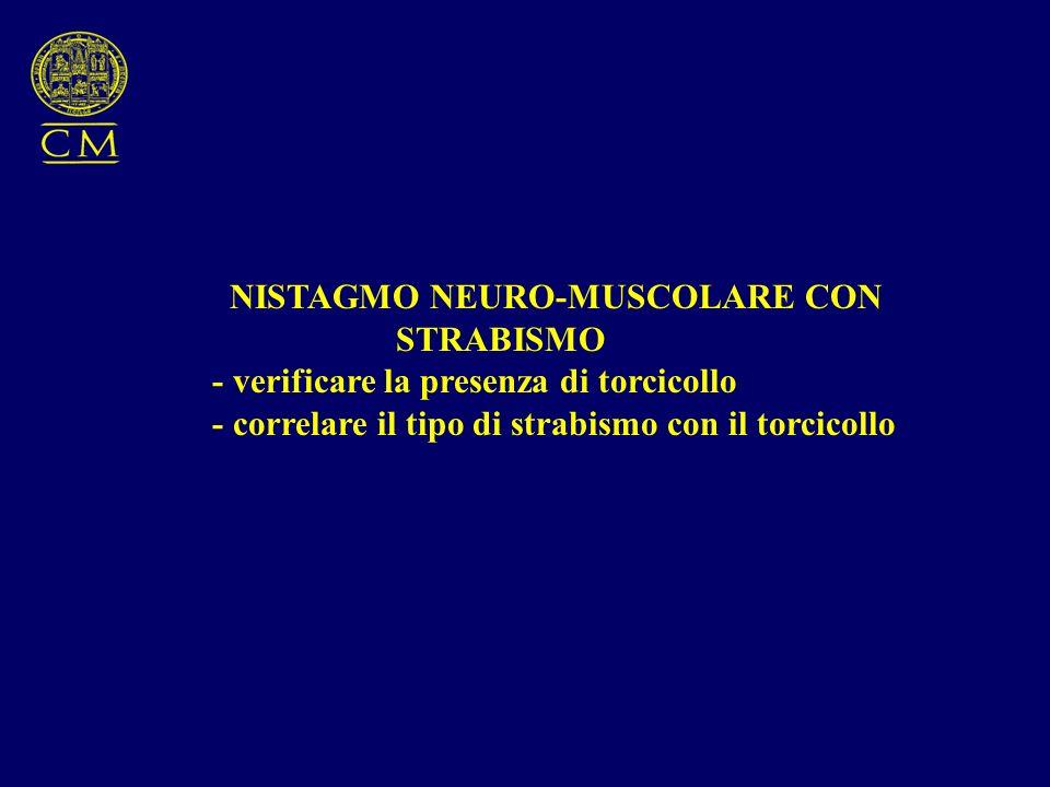 NISTAGMO NEURO-MUSCOLARE CON STRABISMO - verificare la presenza di torcicollo - correlare il tipo di strabismo con il torcicollo