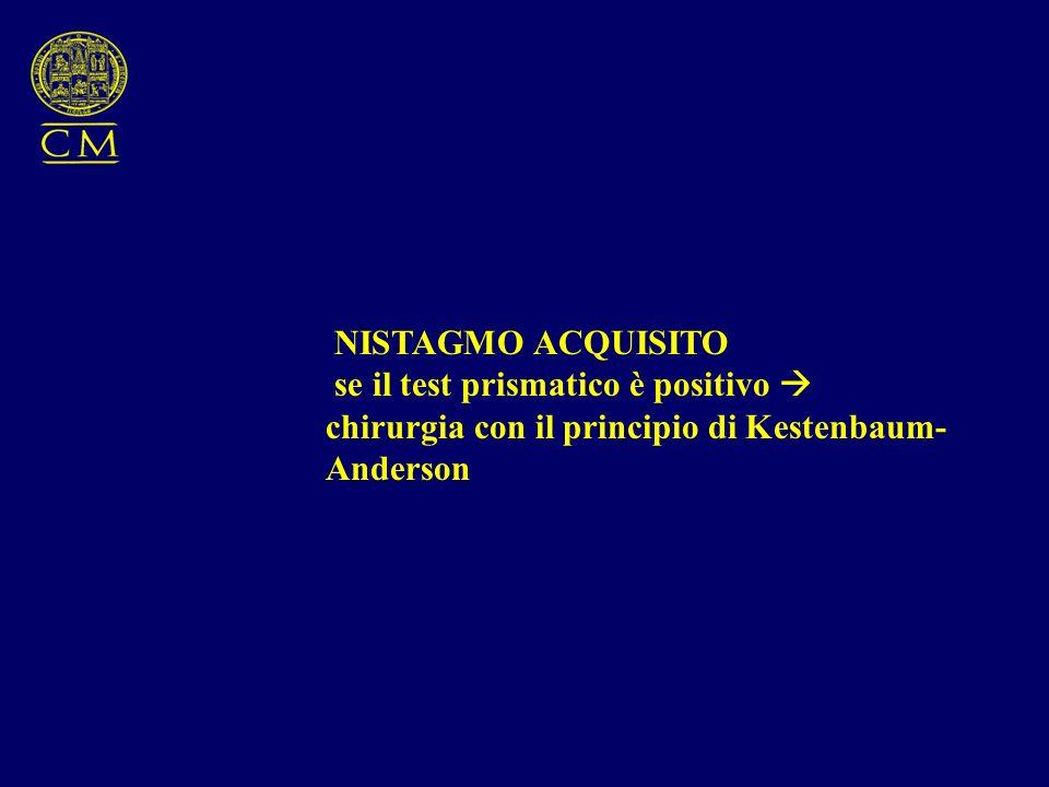 NISTAGMO ACQUISITO se il test prismatico è positivo chirurgia con il principio di Kestenbaum- Anderson