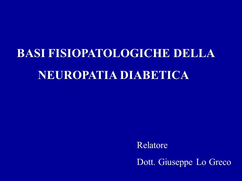 Fattori di rischio per lo sviluppo di neuropatia Il Diabetes Control and Complications Trial (DCCT- tipo 1): riduzione del 60% di neuropatie nel gruppo con intenso controllo glicemico a 5 anni.