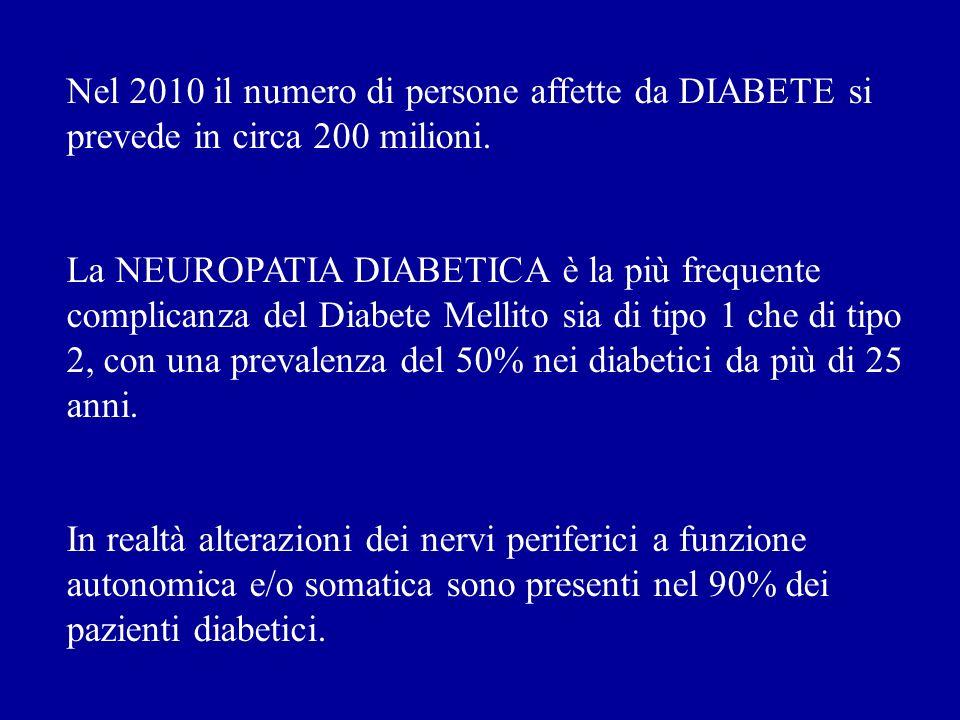 Nel 2010 il numero di persone affette da DIABETE si prevede in circa 200 milioni. La NEUROPATIA DIABETICA è la più frequente complicanza del Diabete M