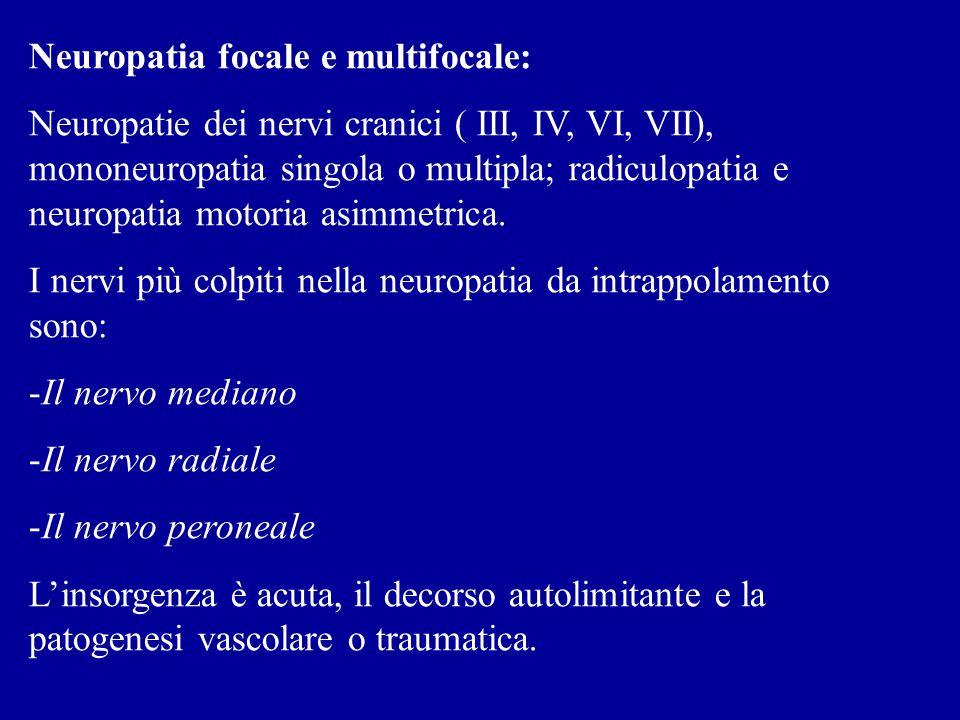 Neuropatia focale e multifocale: Neuropatie dei nervi cranici ( III, IV, VI, VII), mononeuropatia singola o multipla; radiculopatia e neuropatia motor