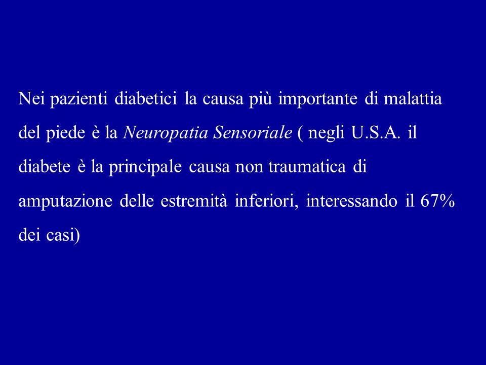 Nei pazienti diabetici la causa più importante di malattia del piede è la Neuropatia Sensoriale ( negli U.S.A. il diabete è la principale causa non tr