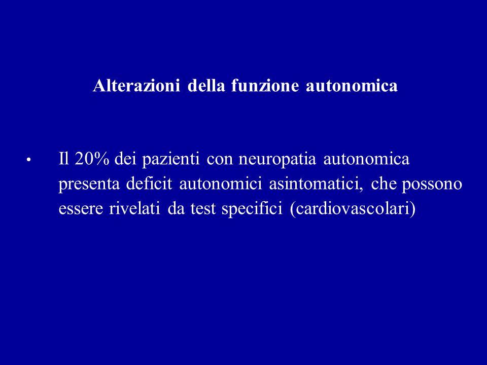 Alterazioni della funzione autonomica Il 20% dei pazienti con neuropatia autonomica presenta deficit autonomici asintomatici, che possono essere rivel