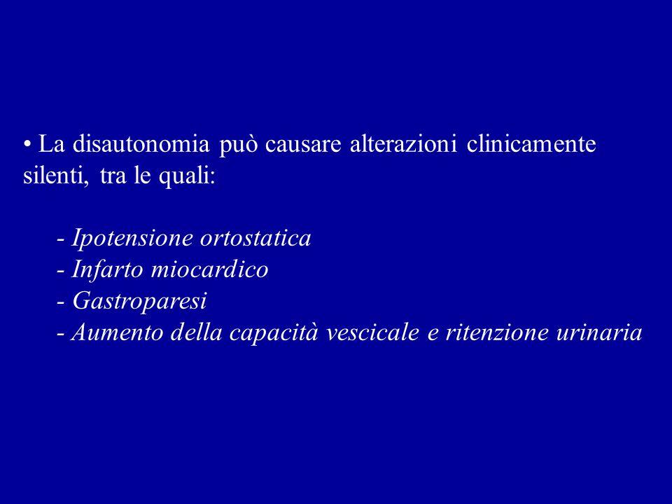 La disautonomia può causare alterazioni clinicamente silenti, tra le quali: - Ipotensione ortostatica - Infarto miocardico - Gastroparesi - Aumento de