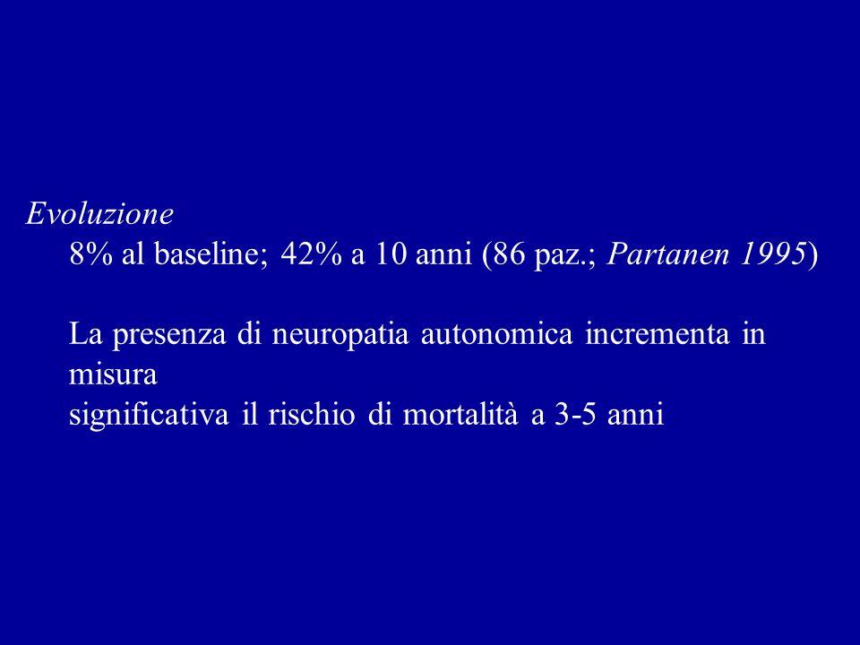 Evoluzione 8% al baseline; 42% a 10 anni (86 paz.; Partanen 1995) La presenza di neuropatia autonomica incrementa in misura significativa il rischio d