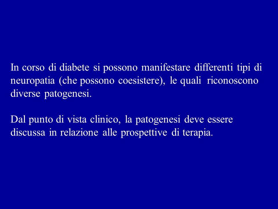 In corso di diabete si possono manifestare differenti tipi di neuropatia (che possono coesistere), le quali riconoscono diverse patogenesi. Dal punto