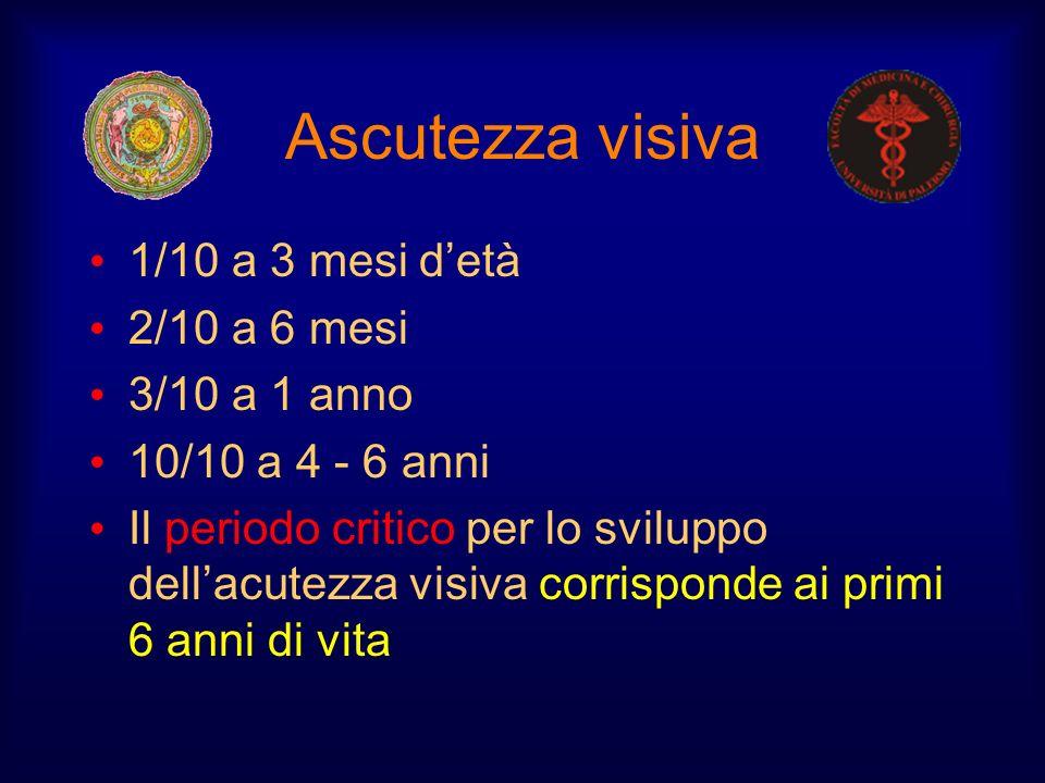 Ascutezza visiva 1/10 a 3 mesi detà 2/10 a 6 mesi 3/10 a 1 anno 10/10 a 4 - 6 anni Il periodo critico per lo sviluppo dellacutezza visiva corrisponde