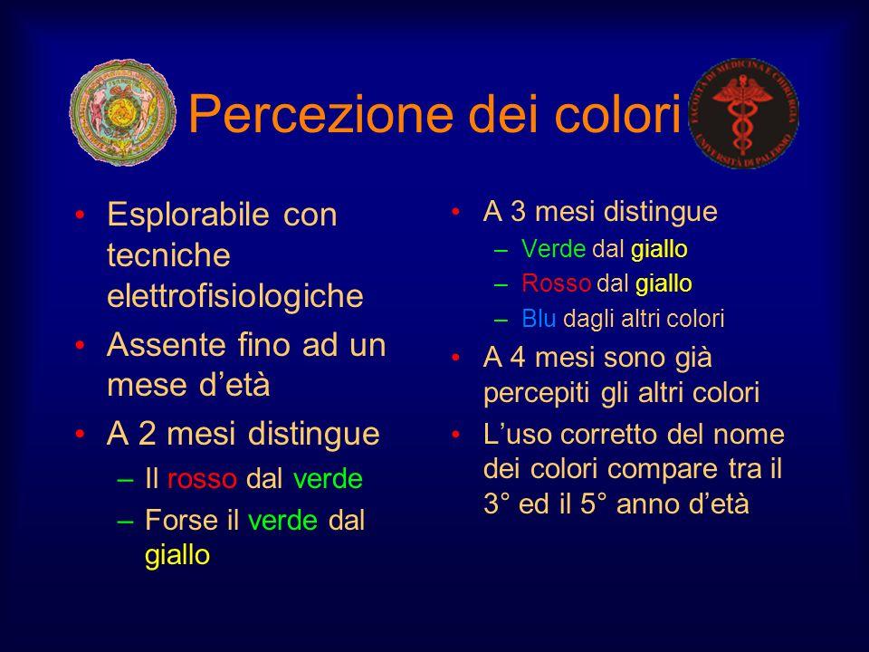 Percezione dei colori Esplorabile con tecniche elettrofisiologiche Assente fino ad un mese detà A 2 mesi distingue –Il rosso dal verde –Forse il verde