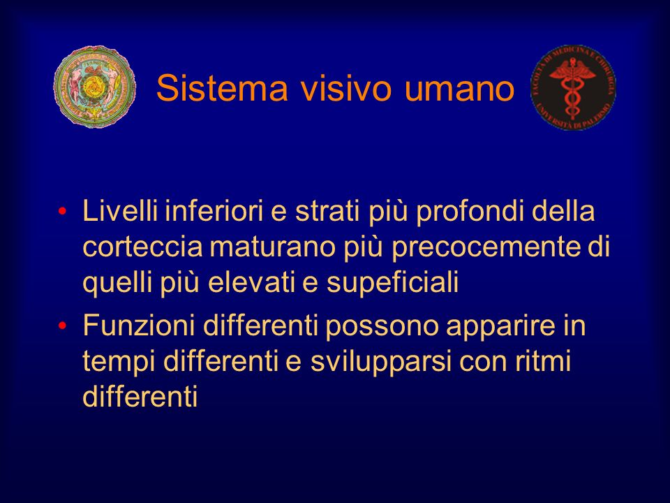 Sistema visivo umano Livelli inferiori e strati più profondi della corteccia maturano più precocemente di quelli più elevati e supeficiali Funzioni di