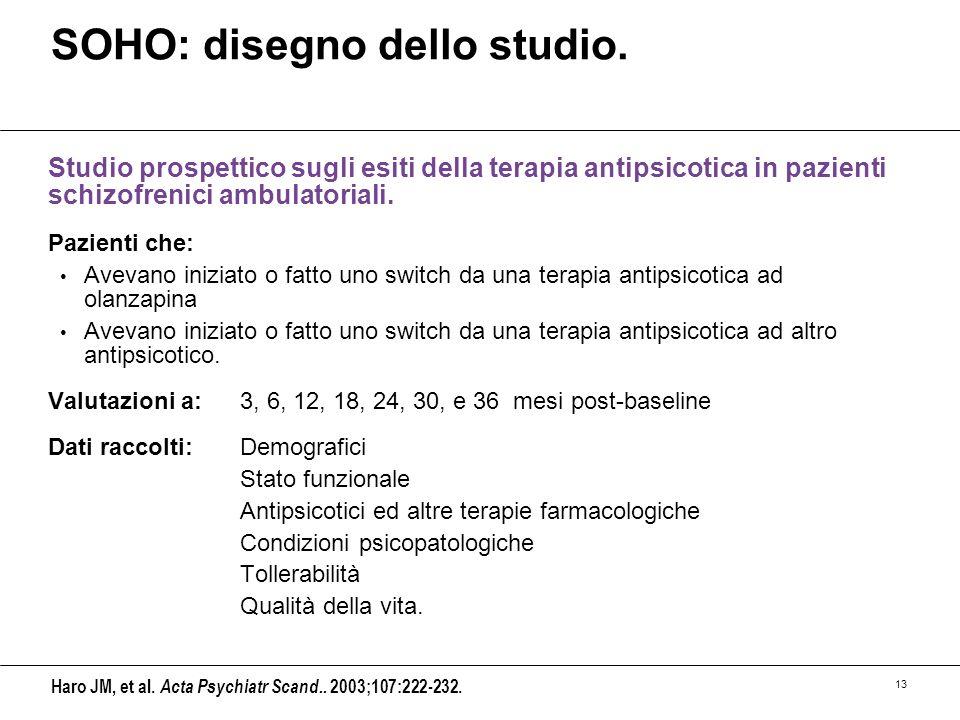 13 SOHO: disegno dello studio. Studio prospettico sugli esiti della terapia antipsicotica in pazienti schizofrenici ambulatoriali. Pazienti che: Aveva