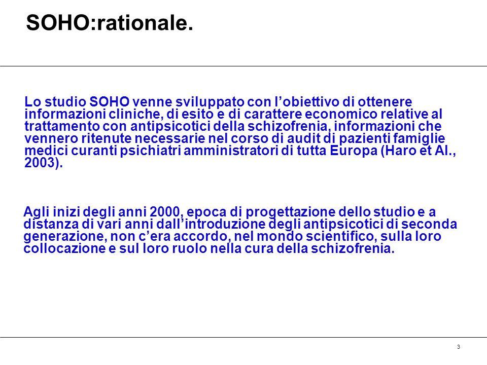 3 SOHO:rationale. Lo studio SOHO venne sviluppato con lobiettivo di ottenere informazioni cliniche, di esito e di carattere economico relative al trat