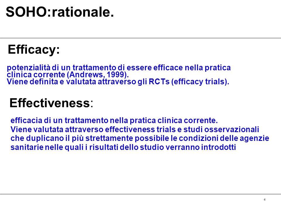 4 potenzialità di un trattamento di essere efficace nella pratica clinica corrente (Andrews, 1999). Viene definita e valutata attraverso gli RCTs (eff