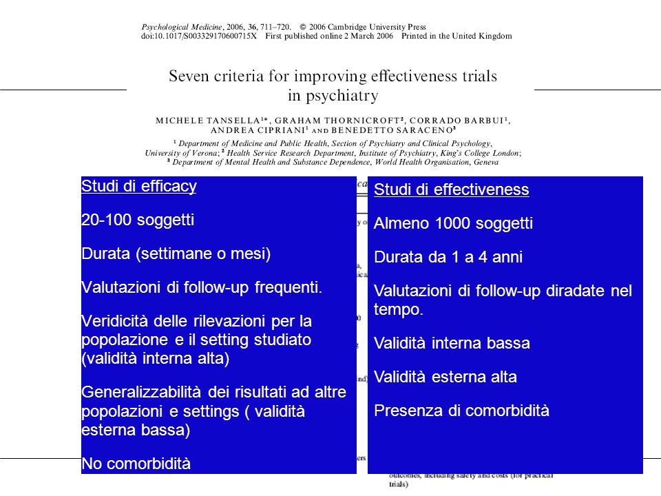 36 Definizione di Ricaduta Relapse was defined as i) an increase in the CGI score of 2 points, when the minimum score a patient had in any evaluation was 3 or less, ii) an increase in the CGI score of 1 points when the minimum CGI score was 4 or more, or iii) admission to an inpatient service.