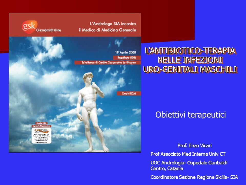 LANTIBIOTICO-TERAPIA NELLE INFEZIONI URO-GENITALI MASCHILI Prof. Enzo Vicari Prof Associato Med Interna Univ CT UOC Andrologia- Ospedale Garibaldi Cen