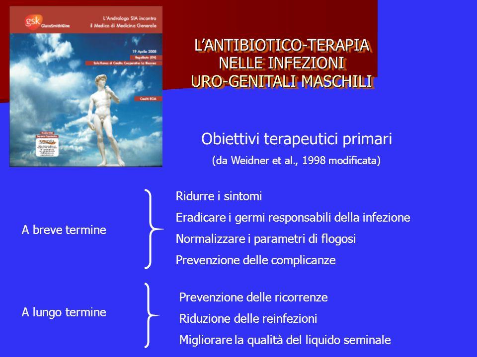 LANTIBIOTICO-TERAPIA NELLE INFEZIONI URO-GENITALI MASCHILI Obiettivi terapeutici primari (da Weidner et al., 1998 modificata) A breve termine Ridurre