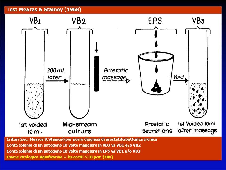 Criteri (sec. Meares & Stamey) per porre diagnosi di prostatite batterica cronica Conta colonie di un patogeno 10 volte maggiore in VB3 vs VB1 e/o VB2