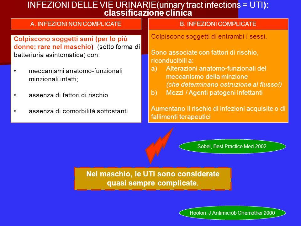 Fattori di rischio per UTI complicata 1.Sesso maschile 2.Senescenza 3.Gravidanza 4.Catetere urinario a permanenza 5.Infezione nosocomiale 6.Recente, pregresso intervento chirurgico tratto urinario 7.Alterazioni anatomo-funzionali del meccanismo della minzione - calcoli (renali, vescicali,prostatici) - stenosi (uretra o uretere) -ostruzione prostatica (IPB, K) -reflusso vescico-ureterale -vescica neurologica (diabetici,portatori di lesioni del midolo spinale, sclerosi a placche) -malattia renale policistica 8.Recente uso di antibiotici 9.Sintomatologia insorta da oltre 7 gg 10.Diabete mellito 11.AIDS; immunosoppressione farmacologica /nefro-trapianto Johnson & Stamm, 1987; Eur Ass Urol 2002 Sobel, Best Practice Med 2002