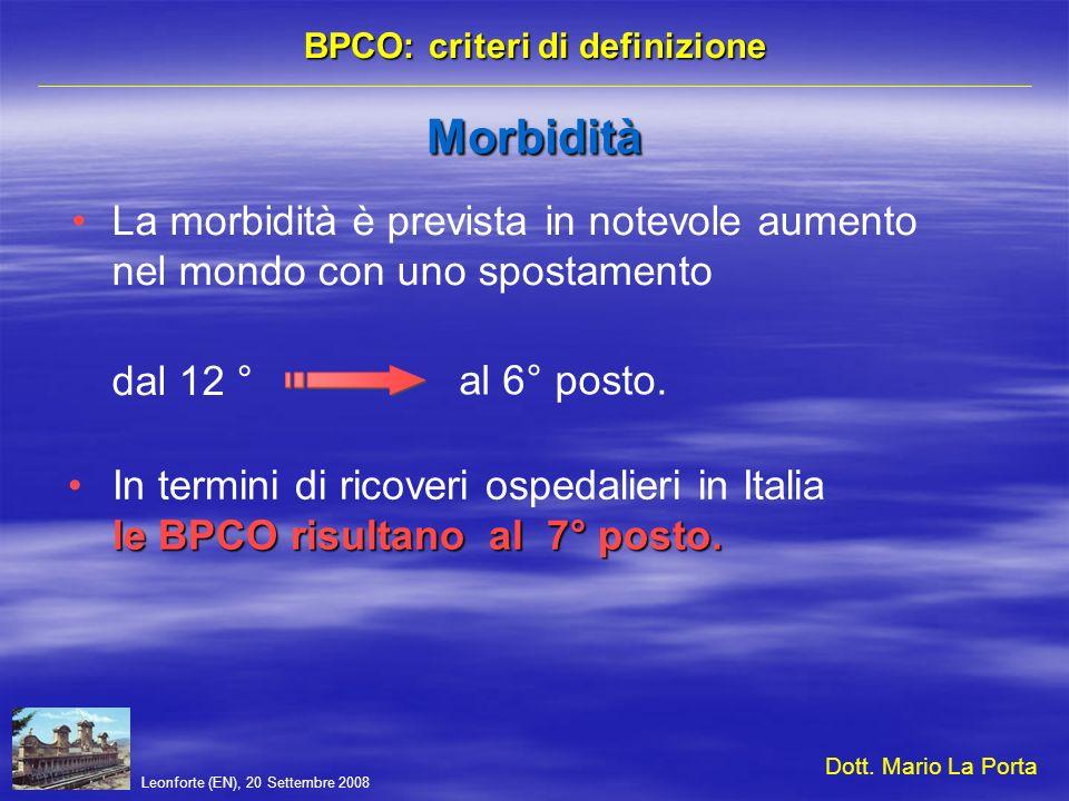 Leonforte (EN), 20 Settembre 2008 BPCO: criteri di definizione Decalogo da tenere a mente Malattia cronico-degenerativa dei bronchi e del parenchima polmonare (anatomia patologica) Noxae patogene respiratorie (inalate) Quadro clinico di sintomi e alterazioni funzionali respiratorie Diagnosi e stadiazione basata sulla funzione respiratoria Infezione del tratto respiratorio (riacutizzazioni e progressione) Evoluzione verso linsufficienza dorgano Indicatori di infiammazione nel sangue periferico Analogie con altre malattie respiratorie non sistemiche Malattia respiratoria con possibili effetti sistemici secondari allinsufficienza respiratoria Sistemico Internistico Dott.