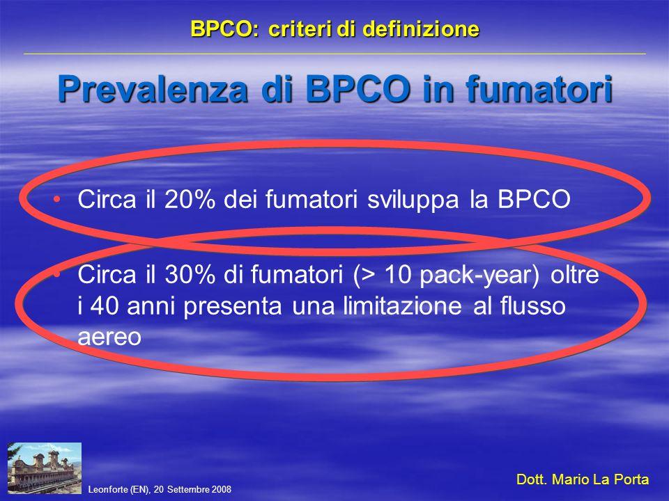 Leonforte (EN), 20 Settembre 2008 BPCO: criteri di definizione Infiammazione sistemica BPCO e stato di salute La flogosi bronchiale, che incrementa in corso di riacutizzazione (come documentato dalle indagini sullespettorato e sul broncolavaggio e dalle biopsie della mucosa bronchiale), è presente anche nelle fasi di stabilità clinica della malattia (incremento del fibrinogeno plasmatico, della PCR e delle principali citochine: IL-6, TNF-, IL-1, IL-8, IL-2, IL-4, IL-5) ed è responsabile di importanti conseguenze sistemiche.