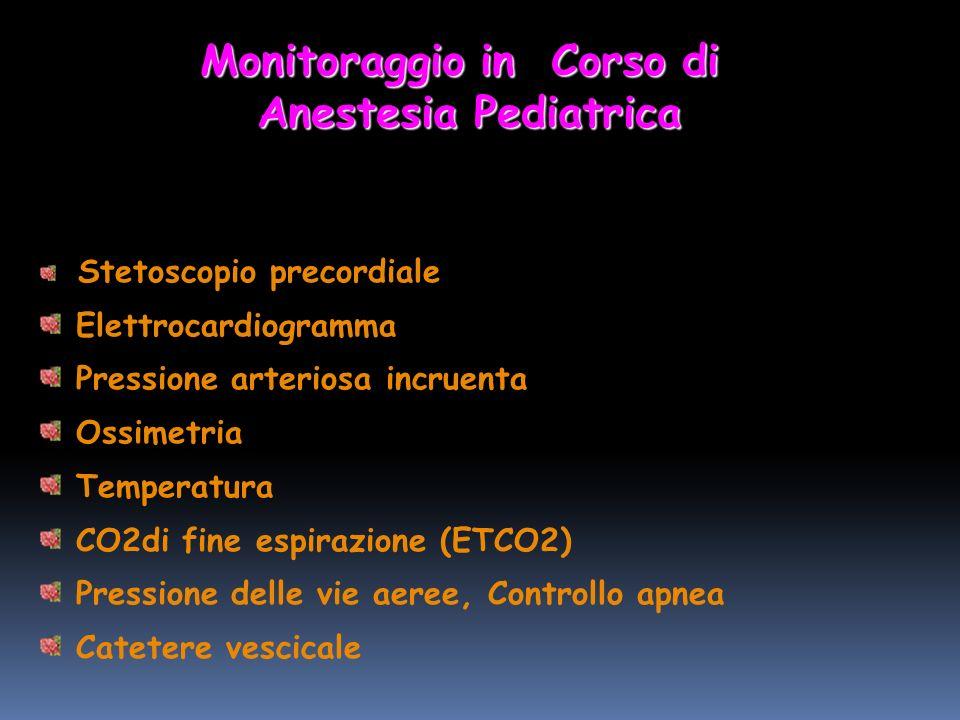 Stetoscopio precordiale Elettrocardiogramma Pressione arteriosa incruenta Ossimetria Temperatura CO2di fine espirazione (ETCO2) Pressione delle vie aeree, Controllo apnea Catetere vescicale Monitoraggio in Corso di Anestesia Pediatrica