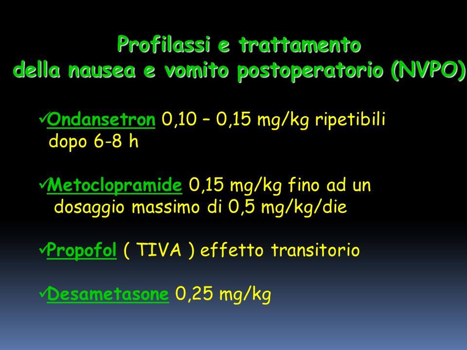 Ondansetron 0,10 – 0,15 mg/kg ripetibili dopo 6-8 h Metoclopramide 0,15 mg/kg fino ad un dosaggio massimo di 0,5 mg/kg/die Propofol ( TIVA ) effetto transitorio Desametasone 0,25 mg/kg Profilassi e trattamento della nausea e vomito postoperatorio (NVPO)