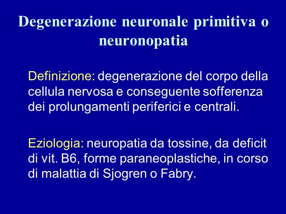 Degenerazione neuronale primitiva o neuronopatia Definizione: degenerazione del corpo della cellula nervosa e conseguente sofferenza dei prolungamenti