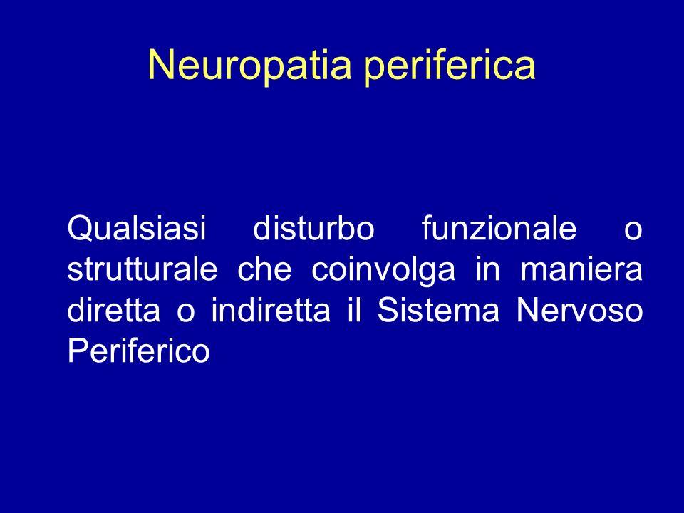 Neuropatia periferica Qualsiasi disturbo funzionale o strutturale che coinvolga in maniera diretta o indiretta il Sistema Nervoso Periferico