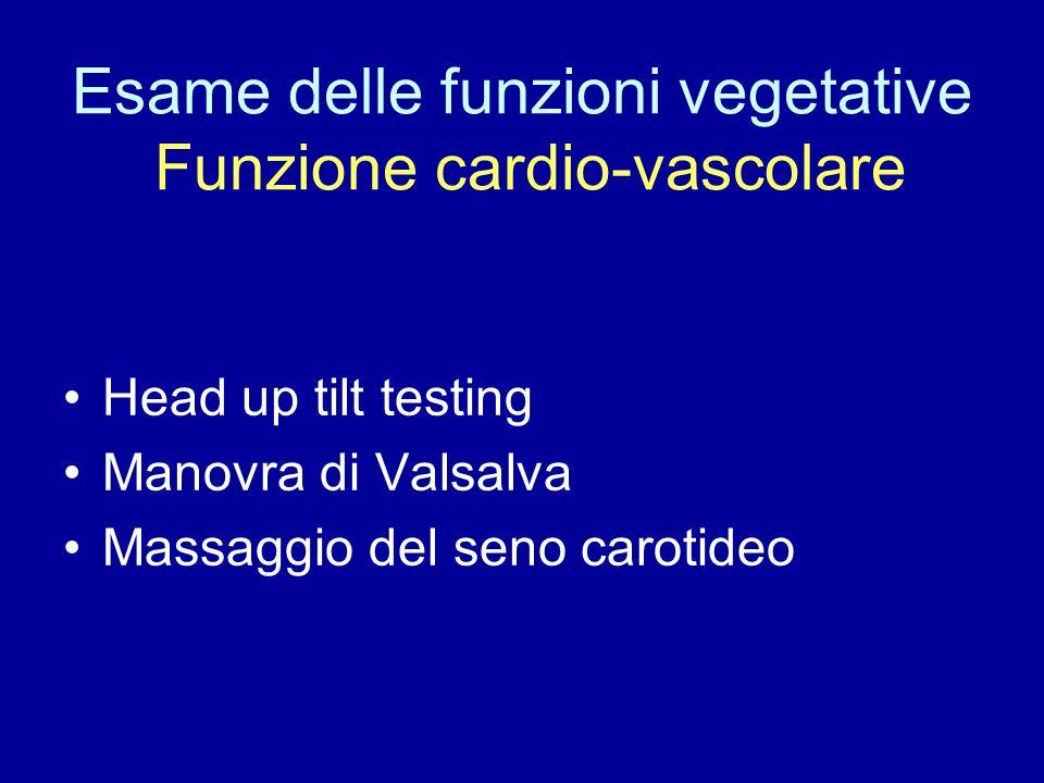 Esame delle funzioni vegetative Funzione cardio-vascolare Head up tilt testing Manovra di Valsalva Massaggio del seno carotideo