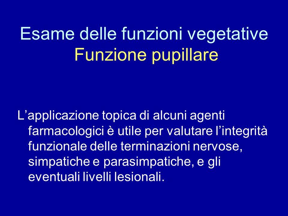 Esame delle funzioni vegetative Funzione pupillare Lapplicazione topica di alcuni agenti farmacologici è utile per valutare lintegrità funzionale dell