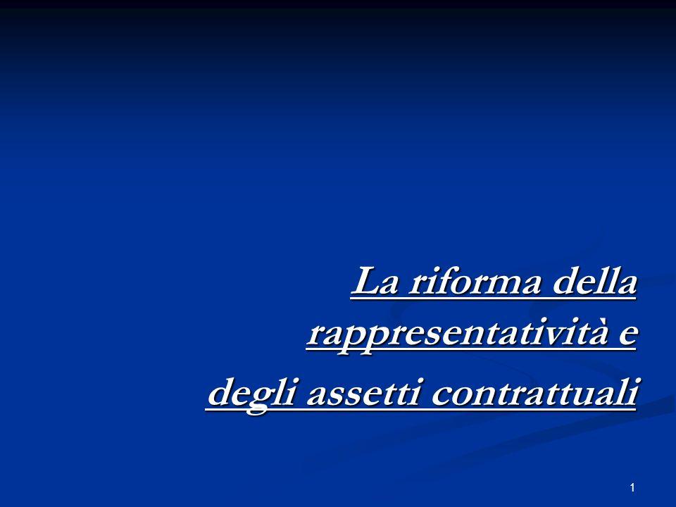 1 La riforma della rappresentatività e degli assetti contrattuali