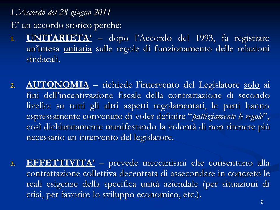 2 LAccordo del 28 giugno 2011 E un accordo storico perché: 1. UNITARIETA – dopo lAccordo del 1993, fa registrare unintesa unitaria sulle regole di fun