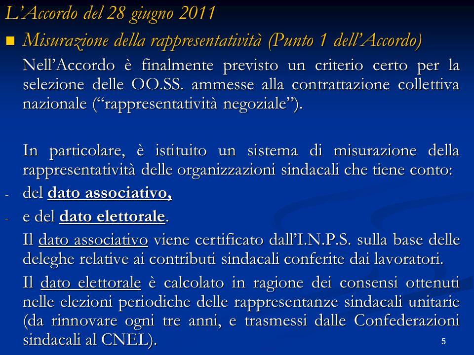 5 LAccordo del 28 giugno 2011 Misurazione della rappresentatività (Punto 1 dellAccordo) Misurazione della rappresentatività (Punto 1 dellAccordo) Nell