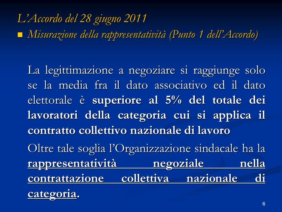 LAccordo del 28 giugno 2011 Misurazione della rappresentatività (Punto 1 dellAccordo) Misurazione della rappresentatività (Punto 1 dellAccordo) La leg