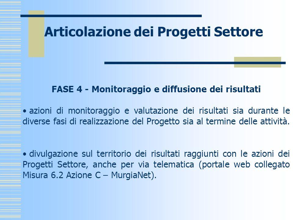 Articolazione dei Progetti Settore FASE 4 - Monitoraggio e diffusione dei risultati azioni di monitoraggio e valutazione dei risultati sia durante le diverse fasi di realizzazione del Progetto sia al termine delle attività.