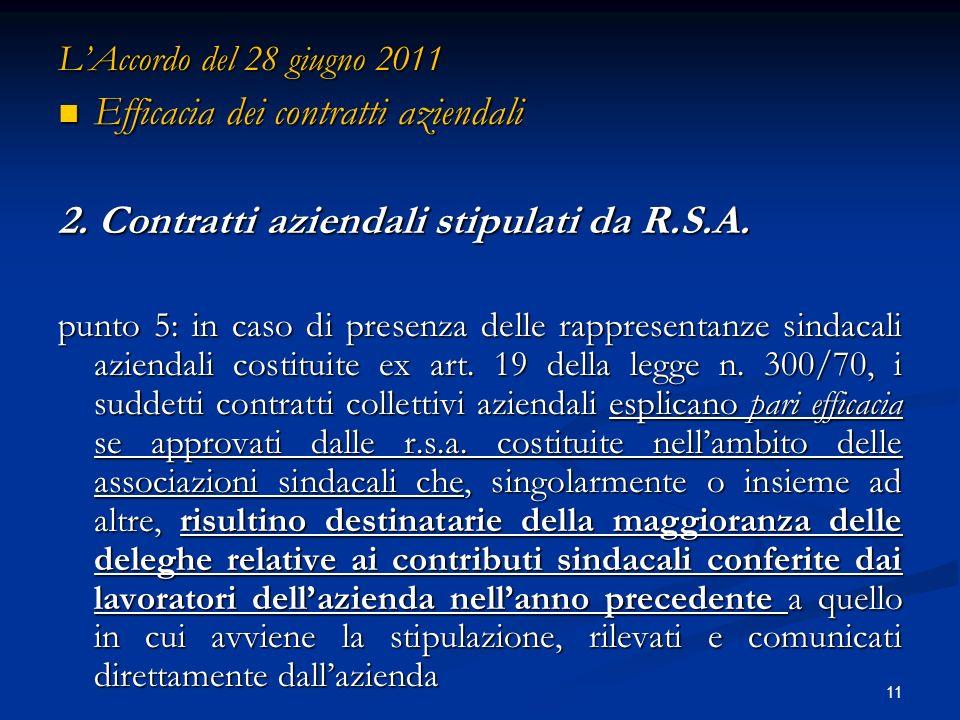 11 LAccordo del 28 giugno 2011 Efficacia dei contratti aziendali Efficacia dei contratti aziendali 2.