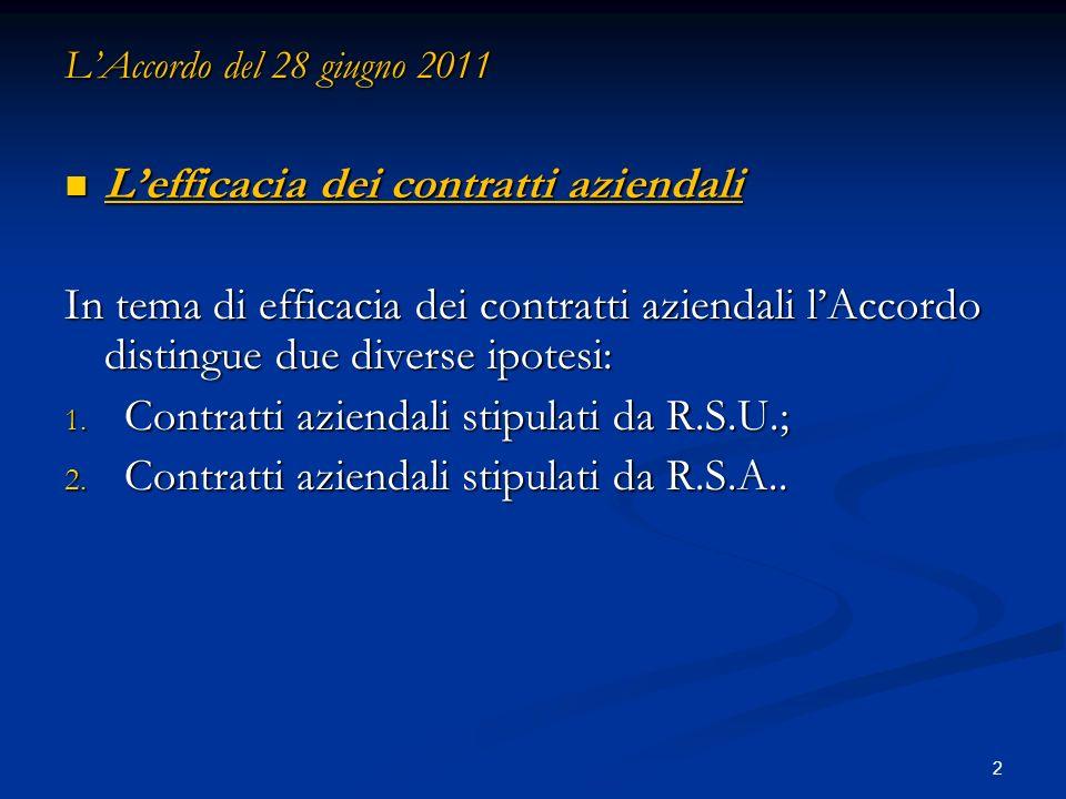 13 LAccordo del 28 giugno 2011 Efficacia dei contratti aziendali Efficacia dei contratti aziendali 2.