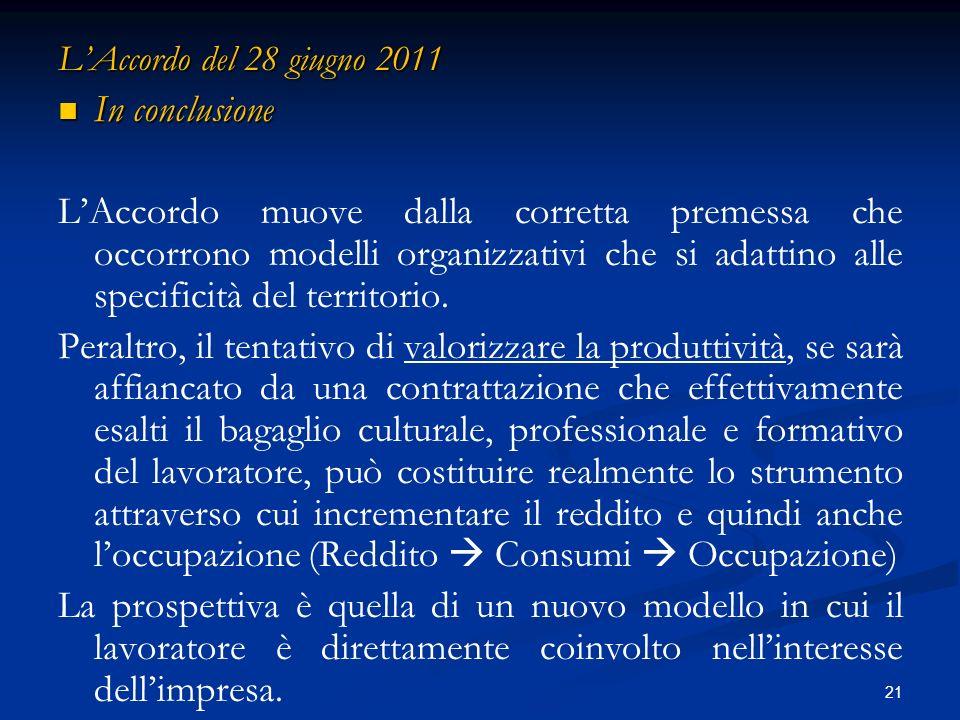 21 LAccordo del 28 giugno 2011 In conclusione In conclusione LAccordo muove dalla corretta premessa che occorrono modelli organizzativi che si adattino alle specificità del territorio.