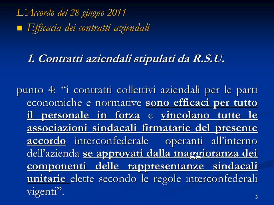 3 LAccordo del 28 giugno 2011 Efficacia dei contratti aziendali Efficacia dei contratti aziendali 1.