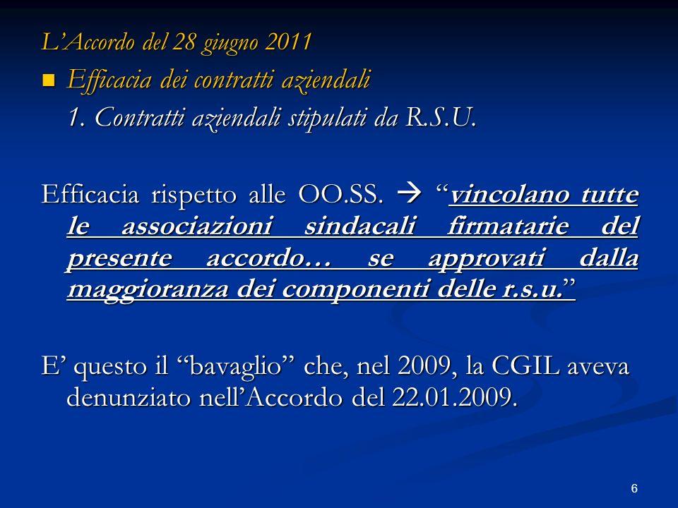 6 LAccordo del 28 giugno 2011 Efficacia dei contratti aziendali Efficacia dei contratti aziendali 1.