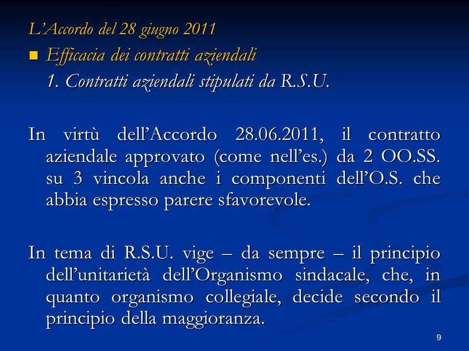 9 LAccordo del 28 giugno 2011 Efficacia dei contratti aziendali Efficacia dei contratti aziendali 1.