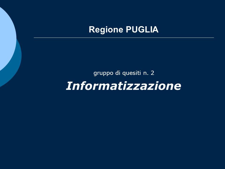 Regione PUGLIA gruppo di quesiti n. 2 Informatizzazione