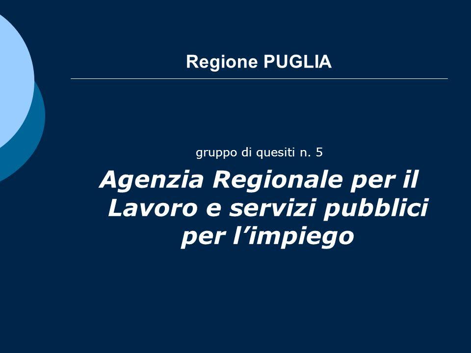 Regione PUGLIA gruppo di quesiti n. 5 Agenzia Regionale per il Lavoro e servizi pubblici per limpiego