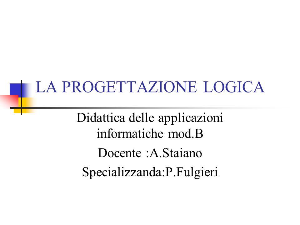 LA PROGETTAZIONE LOGICA Didattica delle applicazioni informatiche mod.B Docente :A.Staiano Specializzanda:P.Fulgieri