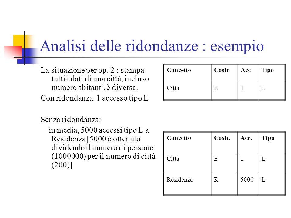 Analisi delle ridondanze : esempio La situazione per op. 2 : stampa tutti i dati di una città, incluso numero abitanti, è diversa. Con ridondanza: 1 a